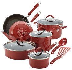 Rachael Ray - Cucina 12-Piece Nonstick Cookware Set - Espresso/Cranberry Red (Brown/Cranberry Red), 16339