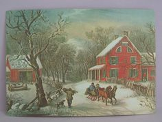 Vintage 5 Currier and Ives Christmas Postcard American Homestead Winter Country