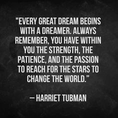 Harriet Tubman is one of my favourite historical figures. She was born into slavery in the 1800s and later helped other slaves escape via the underground railroad. A true symbol of courage her picture  will be featured on future American $20 bills.