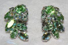SUPERB EARRINGS SET SIGNED SHERMAN GREEN RHINESTONES   eBay