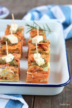 Sweet Potato Tortilla with Pesto and Feta I Tapas I Party Food