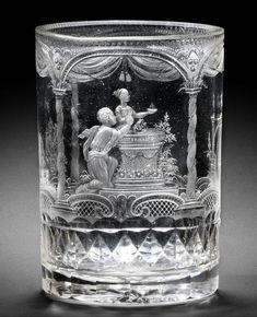 A Bohemian engraved Biedermeier beaker by Hieronymus Hackel, Langerswald, circa 1828-30