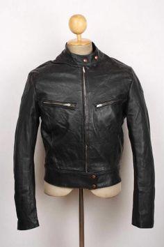 Vtg 60s Padded Black Leather Motorcycle Jacket CAFE RACER Biker Size S/M