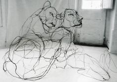 David Olivera's wire works look like ink doodles. When you step closer, they still look like ink doodles. This is because David has the ability to make something as rigid and unforgiving as metal wire look like a fluid, if not languid, figure. Could be discussed with contour drawings and used as sculpture project.