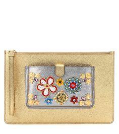 EXCLUSIVE   DOLCE & GABBANA Exclusive to mytheresa.com – embellished metallic leather clutch