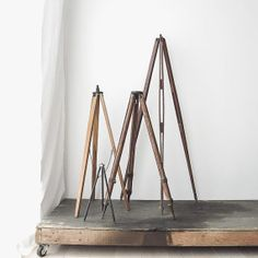 surveyor's wood tripod stand no. 2 by ohalbatross on Etsy, $75.00