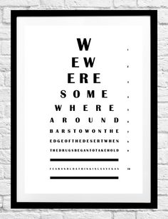 Fear And Loathing In Las Vegas Raoul Duke Book Movie Quote- Eye Chart Minimalist Poster Typography Print Home Decor Wall Art