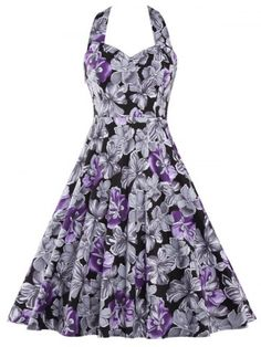 Halter Neck Backless Floral Print Dress