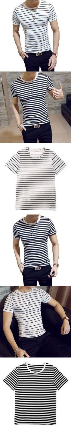 New Men's T Shirts Fashion Summer Striped Slim Fit Short Sleeve T Shirt Men Camiseta Casual T-Shirt  Male Tops Tees Black White