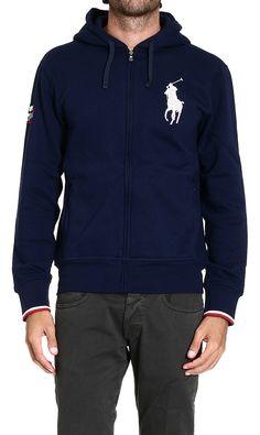 Polo ralph lauren Sweater Sweatshirt with Hood Big Pony in Blue .