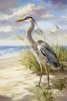 Blue Heron Art Print featuring the painting Blue Heron by Laurie Hein