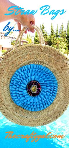 OOAK Round straw bags decorated by The Crafty Gal #roundbag  #sac #panier #bohobags #summerbag #beachbag #thecraftygal #bags #strawbag