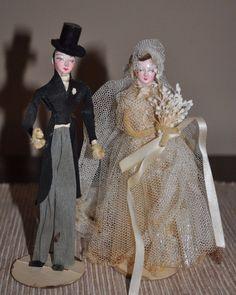 Vintage Dennison s 1930-40s crepe paper wedding cake toppers Bride & Groom Rare
