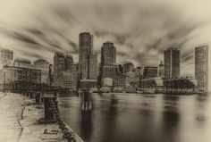 Downtown - Pinned by Mak Khalaf Boston skyline at sunset taken at Fan Pier City and Architecture BostonDowntownHarborMassachusettsboatssunsetwater by rjdavies30