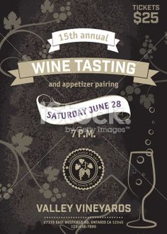 Wine Tasting Event Poster Royalty Free Stock Vector Art Illustration