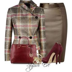 Gray, Taupe, Pink and Burgundy | Skirt and Heels| Purse