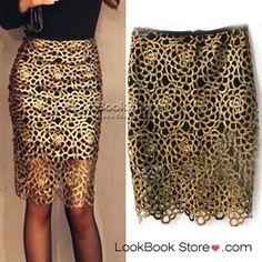 LookBookStore: Women Party Sexy Cutout Gold Twist Crochet Bodycon Black Lining Short Midi Skirt $23.28