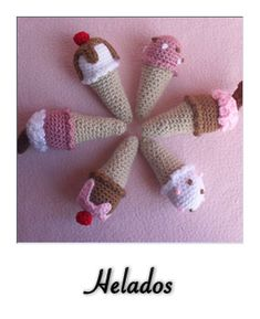 Crocheted Mini Ice Cream Cones - Free Crochet Pattern by CGW JoanitaTheron Crochet Cupcake, Crochet Food, Cute Crochet, Crochet Baby, Knit Crochet, Crochet Toys Patterns, Amigurumi Patterns, Stuffed Toys Patterns, Crochet Amigurumi