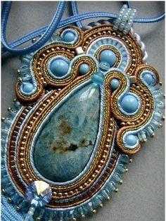 Necklace created using soutache technique