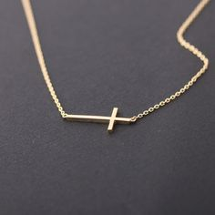 sideways cross necklace, gold only $15!