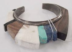 Navajo bracelet, Met Collection; silver, turquoise,cobalt, wood, and stone.