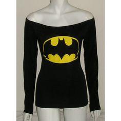Batman Off Shoulder Tshirt Corset Reconstructed Long Sleeves Diy 10/12... ($49) ❤ liked on Polyvore