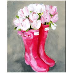 Oliver Gal Tulips & Rainboots Canvas Wall Art ($121) ❤ liked on Polyvore featuring home, home decor, wall art, canvas wall art, pink wall art, spring wall art, flower home decor and flower stem