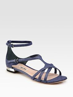 Miu Miu Stingray Leather Sandals  (Stingray Leather appears to be a textured/pitted form of leather that attracts varying amounts of pigment during tanning, thus creating a consistent distribution of areas of differing shades and dye densities on the surface of the stingray leather.)