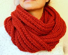 Circle Scarf  Burnt Orange Hand Knitted Infinity by warmandsoft, $58.00