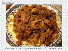 Couscous aux oignons confits et raisins secs Pasta, Jewish Recipes, Arabic Food, International Recipes, Ramadan, Curry, Pork, Sweets, Dishes