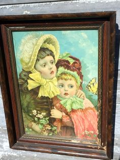 Antique Large Wood Frame With Victorian Lithograph Two girls Hugging Flowers by Holliezhobbiez on Etsy