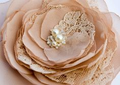 La creme - beige flower brooch and hair clip flower, lace, ivory pearl, sand, cream