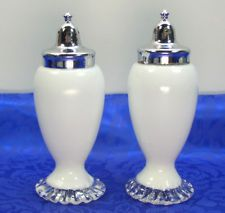 Fenton Art Glass Silver Crest Salt Pepper Shakers Rare Milk White Clear Crimp