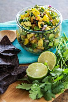 "Avocado Peach Salsa - can probably add some lime zest and olive oil in place of ""pure lime essential oil"""