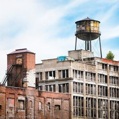 New York Water Towers 18, Greenpoint Water Tower Brooklyn, Industrial Decor, Urban Chic, Square Format Color Photograph