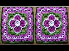 Cuadrado o grany square con flor rosita lila tejida a crochet y hojitas paso a paso - YouTube