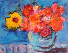 """Daily Paintworks - """"Hello Spring"""" - Original Fine Art for Sale - © Mary Schiros"""