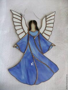 Items similar to Stained glass Angel. Stained glass angel with flute. on Etsy Stained Glass Angel, Making Stained Glass, Stained Glass Ornaments, Stained Glass Christmas, Stained Glass Designs, Mosaic Crafts, Stained Glass Projects, Stained Glass Patterns, Stained Glass Windows