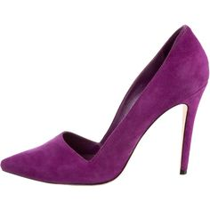 Alice + Olivia Dina Pumps ($85) ❤ liked on Polyvore featuring shoes, pumps, heels, purple, pointed toe shoes, suede pumps, purple suede shoes, alice olivia shoes and pointy-toe pumps