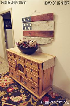 DIY:  How to Make this Barn Wood American Flag - using salvaged barn wood that was spray painted, stars from the craft store and joined together with heavy duty wire and twisted with pliers - All Things Thrifty