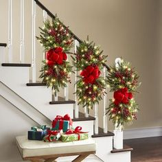The Cordless Prelit Classic Holiday Swag - Hammacher Schlemmer christmasstaircasedecor Christmas Stairs Decorations, Christmas Swags, Christmas Door, Christmas Centerpieces, Outdoor Christmas, Rustic Christmas, Simple Christmas, Beautiful Christmas, Christmas Quotes