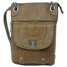 ROMA LEATHERS Natural Genuine Leather Turnlock Concealed Purse : Conceal and Carry Purses