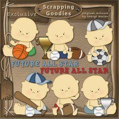 Sports Babies 1 - Whimsical Clip Art by Cheryl Seslar