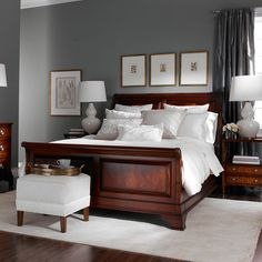 Bedroom Wall Colors with Cherry Furniture . Elegant Bedroom Wall Colors with Cherry Furniture . New Great Cherry Furniture Bedroom Ideas 8428 Dark Wood Bedroom Furniture, Gray Bedroom Walls, Bedroom Colors, Bedroom Sets, Home Bedroom, Grey Walls, Trendy Bedroom, Accent Walls, Bedroom Carpet