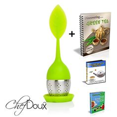 Chef Doux Tea Leaves Infuser - High Class Tea Infuser- Tea Infuser - Cute Travel Portable Tea Strainer - Cool Model - Stainless Steel and Food Grade Silicone Stainer- 100% Ecofriendly - Perfect Tool for Loose Tea Leaves - Best Quality - THREE BONUS Green Tea EBooks - FDA Certification - Money Back Guarantee - http://teacoffeestore.com/chef-doux-tea-leaves-infuser-high-class-tea-infuser-tea-infuser-cute-travel-portable-tea-strainer-cool-model-stainless-steel-and-food-grade-sil