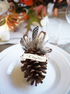 Personalize Your Thanksgiving Table With These Gorgeous DIY Place Card IdeasThanksgiving Place Cards for Every Style Thanksgiving Name Cards, Thanksgiving Crafts, Thanksgiving Table, Thanksgiving Decorations, Homemade Place Cards, Diy Place Cards, Feather Crafts, Pine Cone Crafts, Partys