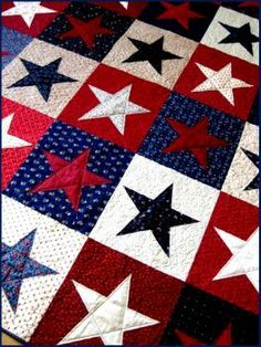 Patriotic Quilt July 4 Red, White and Blue Americana Lap Quilt Flag Quilt, Patriotic Quilts, Star Quilts, Quilt Blocks, Texas Quilt, Star Blocks, Patriotic Crafts, Patriotic Decorations, July Crafts