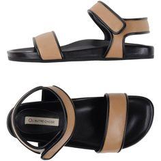 L' Autre Chose Sandals ($82) ❤ liked on Polyvore featuring shoes, sandals, sand, l'autre chose, velcro closure shoes, real leather shoes, velcro shoes and leather sandals