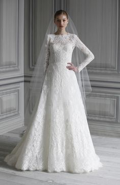 New, sample and used Monique Lhuillier wedding dresses for sale at amazing prices. Browse our Monique Lhuillier wedding gowns and find your dream dress for less! White Bridal Dresses, Muslim Wedding Dresses, Lace Wedding Dress With Sleeves, Long Sleeve Wedding, Bridal Gowns, Lace Sleeves, Dress Wedding, Wedding Lace, Trendy Wedding