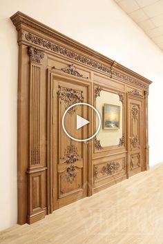 [ Wood carving is a constant classic in the interior. The luxury of decorative carved elements, the Wooden Door Design, Main Door Design, Wood Design, Custom Wood Doors, Wooden Doors, Door Design Interior, Interior Decorating, Wood Cladding, False Ceiling Design